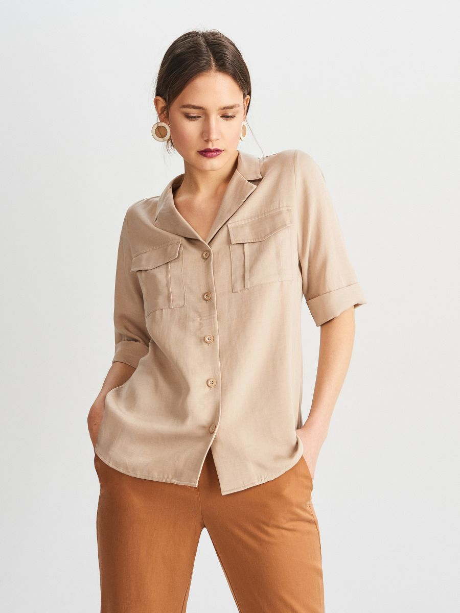 463821df2fb Buy online! Tencel™ and linen blend shirt, RESERVED, WM570-80X