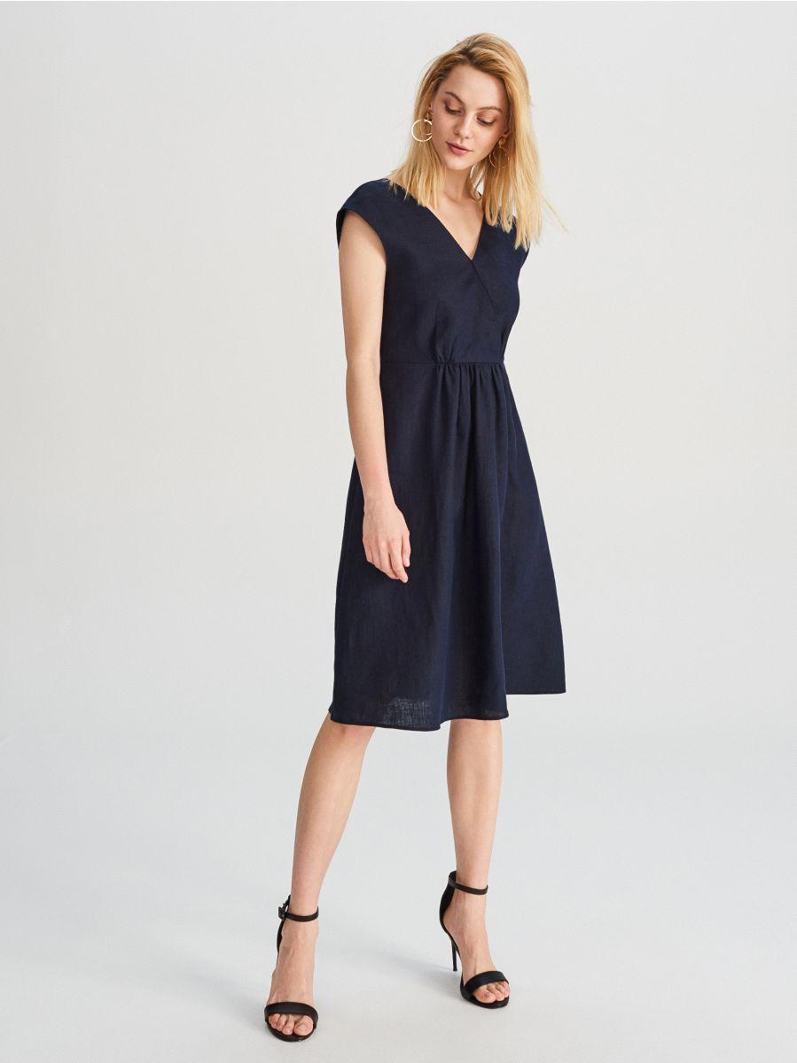 e845c75a6c9ba2 Lniana sukienka - granatowy - WU747-59X - RESERVED - 1