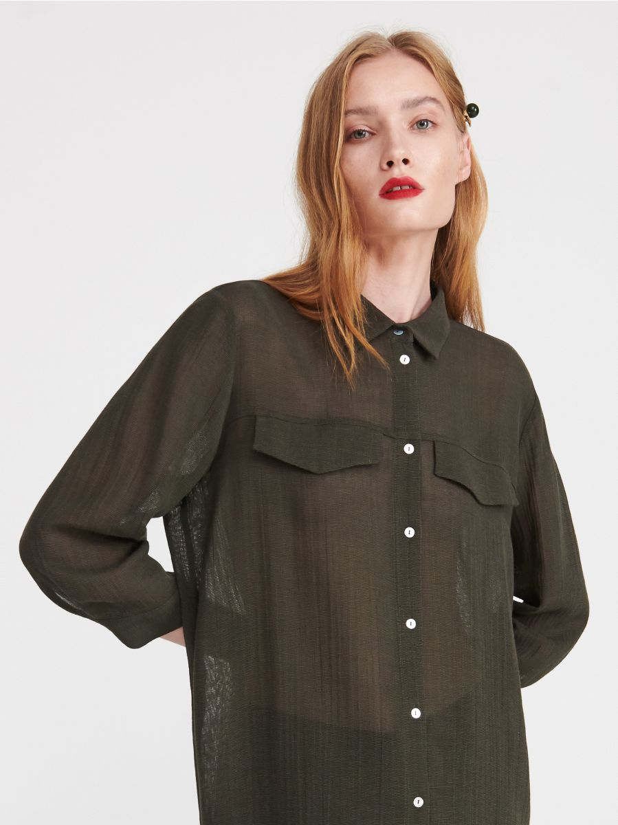 efdf5ad61a2e6a Długa koszula z wiskozy - zielony - XC645-87X - RESERVED - 1