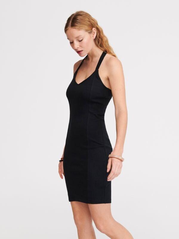 4b2da395251282 Szyfonowa sukienka · Sukienka z prążkowanej dzianiny - czarny - VF364-99X -  RESERVED