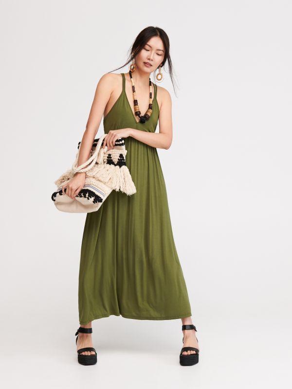 f0ec8bc4fb Sukienka szmizjerka · Długa dzianinowa sukienka - zielony - VF884-78X -  RESERVED