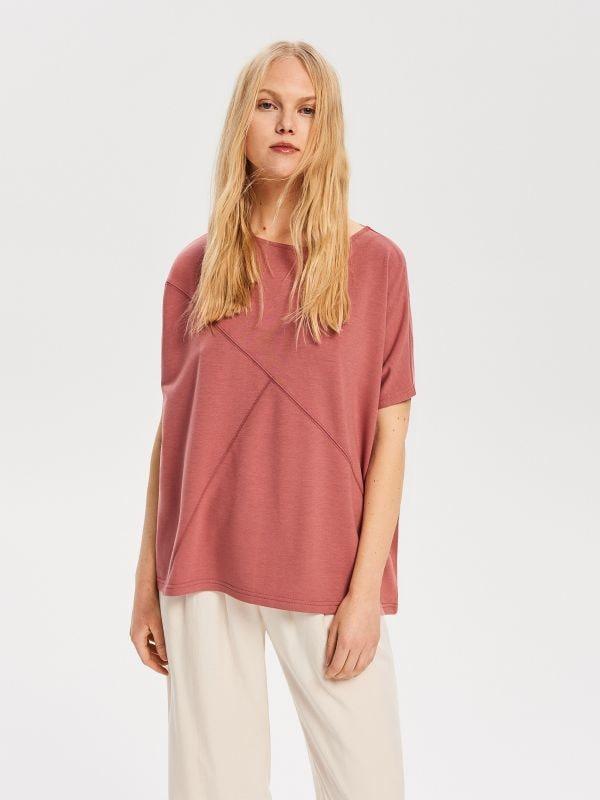175af46cefee03 Bluzka w kwiaty · Bluzka z dekoltem na plecach - różowy - VG033-39X -  RESERVED