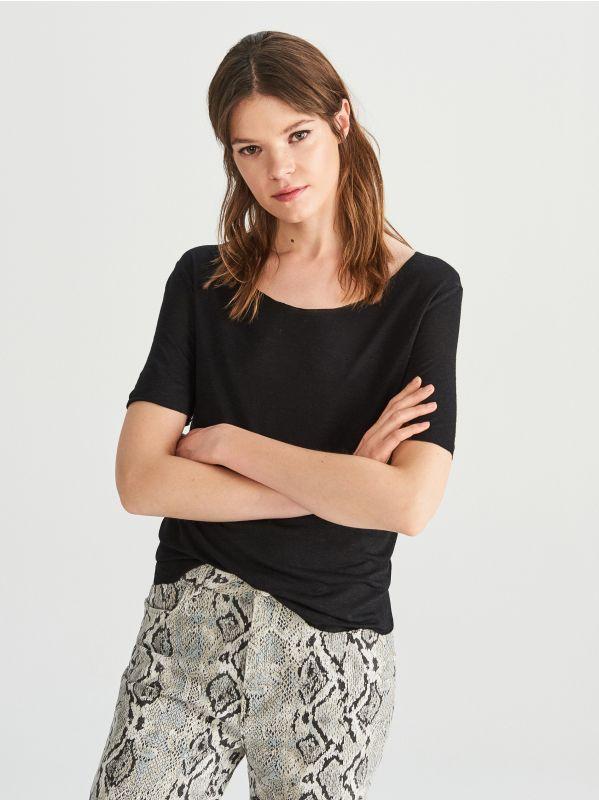 68449155ae Viszkóz ruha · Lenből és viszkózból készült póló - fekete - VH106-99X -  RESERVED