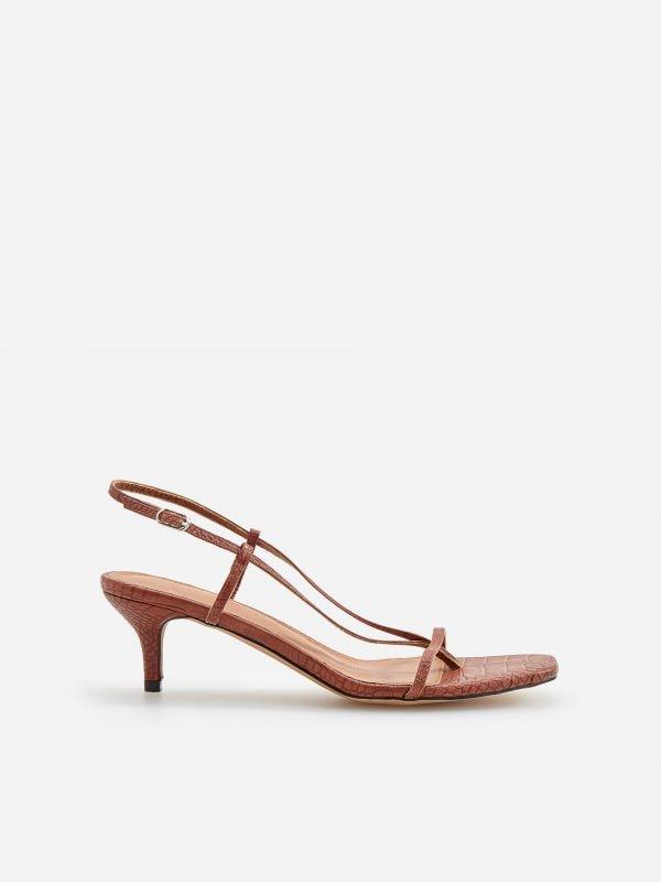 24dac9eaf8ee Sandále na vysokom opätku · Sandále na stredne vysokom podpätku - hnedá -  VR797-88X - RESERVED