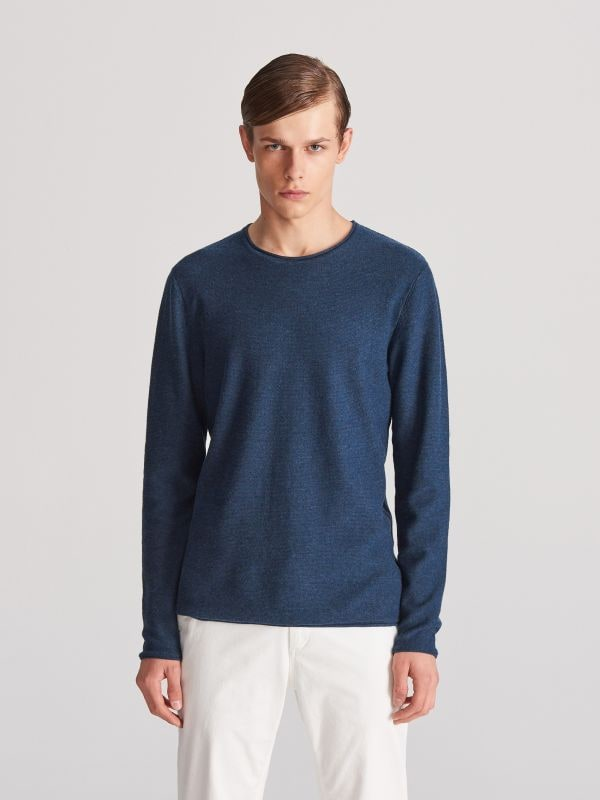 368768899e1355 4 Bawełniany sweter - granatowy - WF079-59M - RESERVED