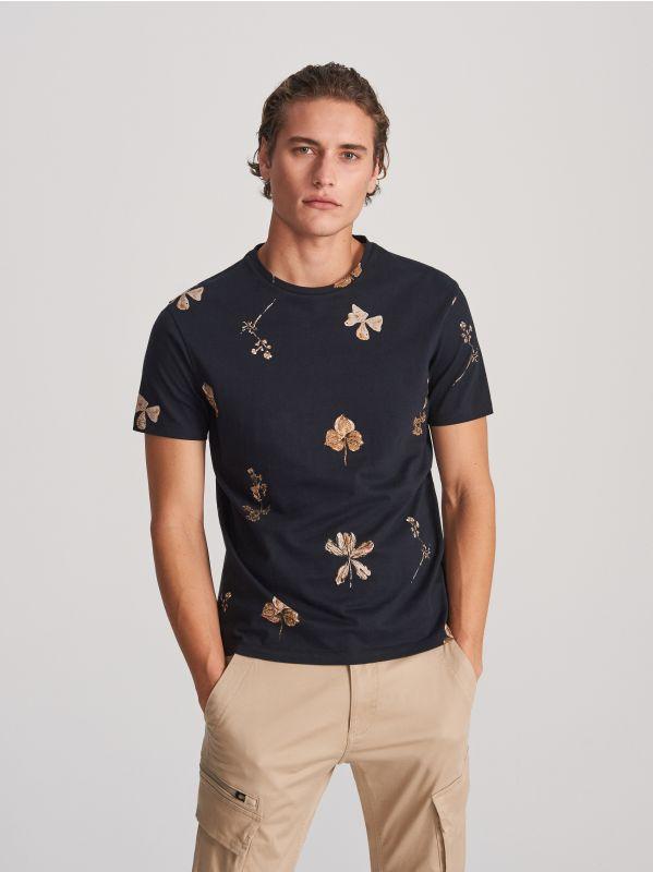 cd54100cf4b033 T-shirt basic · T-shirt z roślinnym printem - czarny - WL722-99X - RESERVED