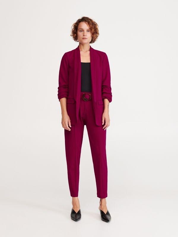 8373a10b038b09 Spodnie w kratę z kantem · Spodnie z paskiem - różowy - WO577-43X - RESERVED