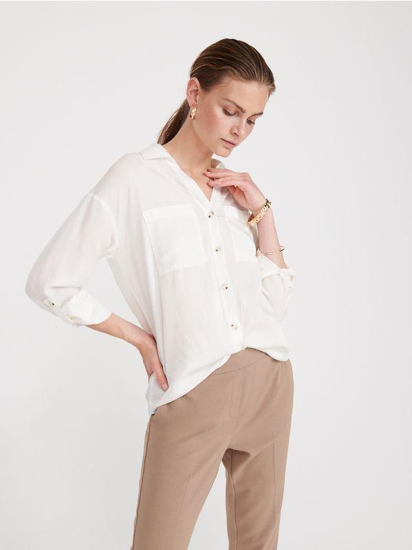 e8719c093cdd75 Gładka koszula z Tencelu™ · Gładka koszula z Tencelu™ - kość słoniowa -  WS580-01X - RESERVED