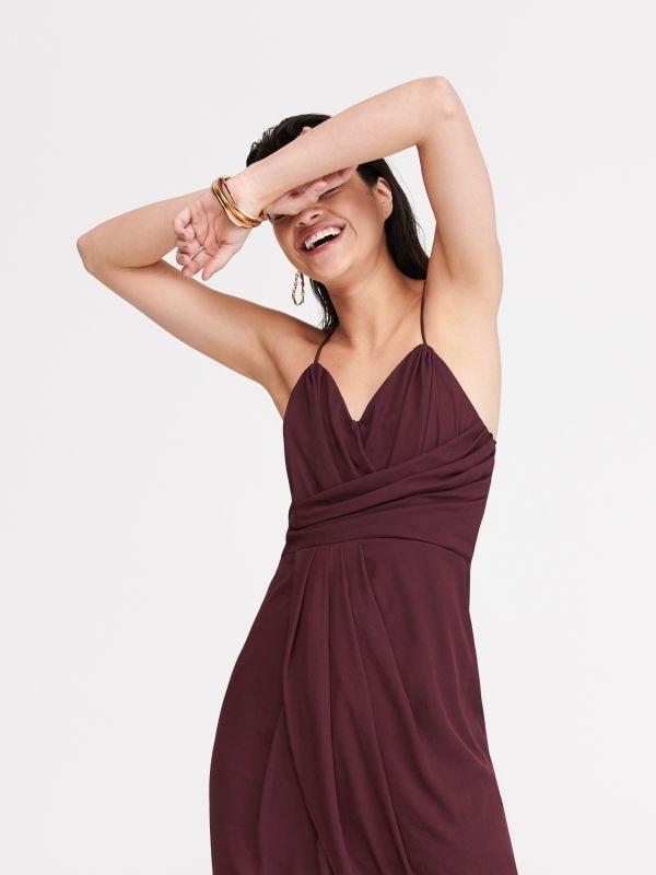 fa866c5f21e4c8 Długa sukienka z lnem · Szyfonowa sukienka - purpurowy - WU750-53X -  RESERVED