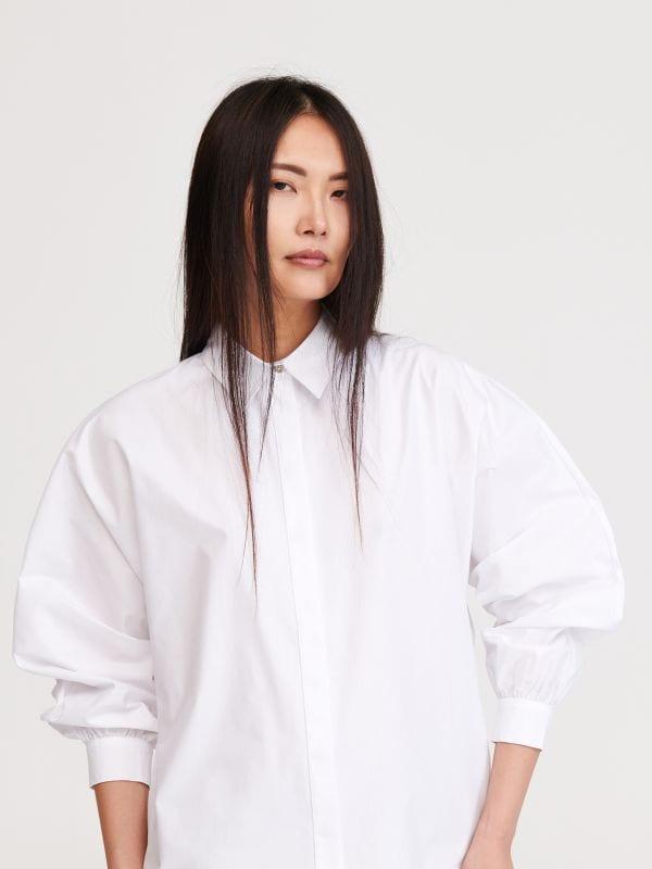 cf60eff4f359b3 Koszula z organzy · Koszula z bufiastymi rękawami - biały - XN470-00X -  RESERVED